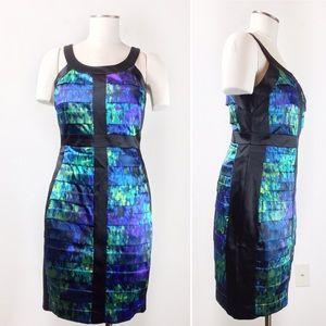 Jax Satin Sheath Layered Dress